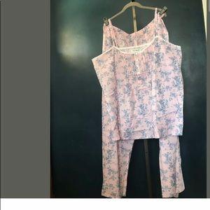 NWOT Women's 2X Pink Cotton Floral Pajama Set